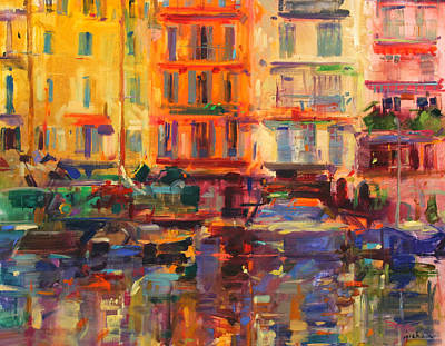 Warm Tones Painting -  Grand Harbour  Cannes by Peter Graham