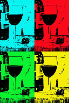 Wine Reflection Art Digital Art -  Grapes To Bottle To Glass by Tom Downing