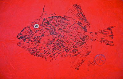 Blue Marlin Mixed Media -  Gyotaku - Triggerfish - Queen Trigger 2 by Jeffrey Canha