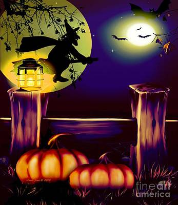 Halloween Witches Moon Bats And Pumpkins Art Print by Annie Zeno