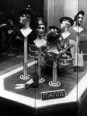 Window Display 1940s Photograph -  Hats Mannequin Heads In Store Window Display by Mark Goebel