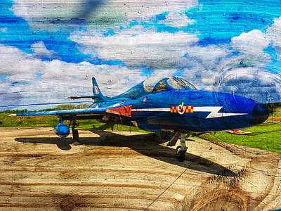 Photograph -  Hawker Hunter T7 Aircraft On Wood by Robert Gipson