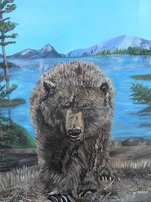 Hello Grizzley Bear Art Print