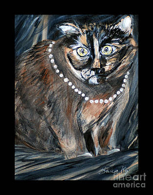 Painting - Pearl With Pearls. Painting For Sale.  Hello Pearl Collection. Greeting Card View by Oksana Semenchenko