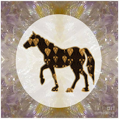 Horse Prancing Abstract Graphic Filled Cartoon Humor Faces Download Option For Personal Commercial  Art Print by Navin Joshi