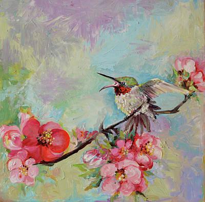 Sakura Painting -   Hummingbird In Cherry Tree Blossom by Soos Roxana Gabriela