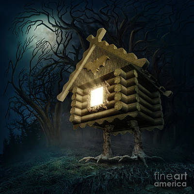 Slavic Digital Art -  Hut With Chicken Legs by Elena Schweitzer