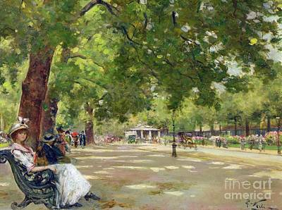 United Kingdom Painting -  Hyde Park - London by Count Girolamo Pieri Nerli