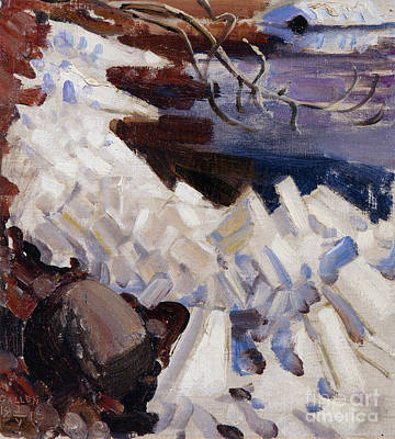 Painting -  Ice Breaking On The Shores Of Kalela by Celestial Images