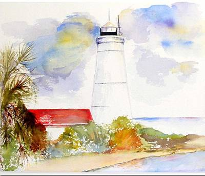 Art Print featuring the painting  Impression St Marks Lighthouse by Sibby S