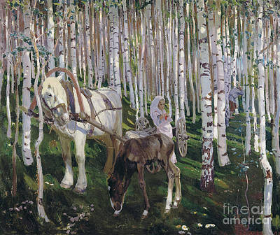 Horse In Forest Painting -  In The Forest by MotionAge Designs