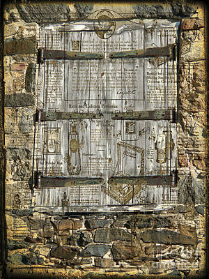 Stone Buildings Mixed Media -  In The News Vintage Hay Barn Door by Heinz G Mielke