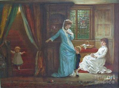 Interior With Ladies And Children Art Print by MotionAge Designs