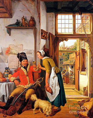 Maid Painting -  Interior With Soldier And Maid by Celestial Images