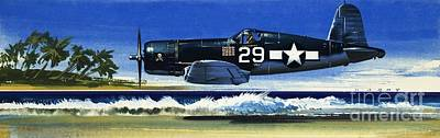 F4u Painting -  Into The Blue American War Planes by Wilf Hardy