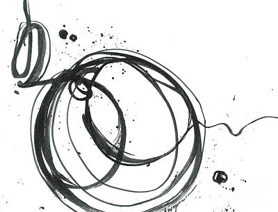 Signed By Artist Painting -  Inward - Revolving Life Collection - Modern Abstract Black Ink Artwork by Patricia Awapara