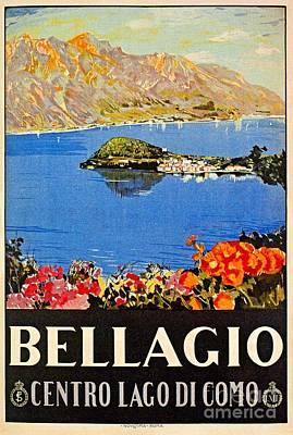 Lago Di Como Drawing -  Italy Bellagio Lake Como Vintage Italian Travel Advert by Heidi De Leeuw