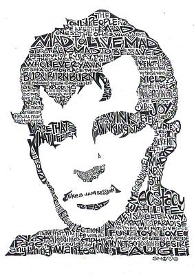 Pen Drawing -  Jack Kerouac Black And White Word Portrait by Kato Smock