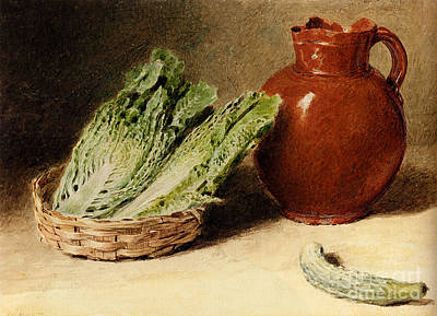 Jug A Cabbage In A Basket  Art Print