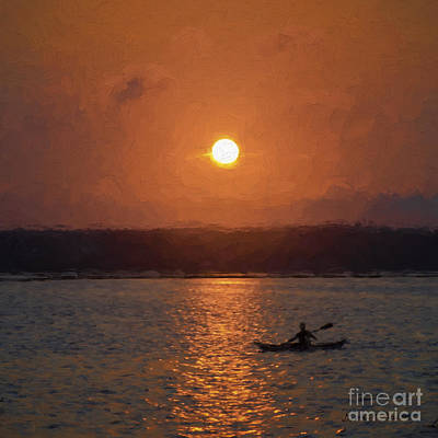 Photograph -  Kayaking At Sunset by David Gordon