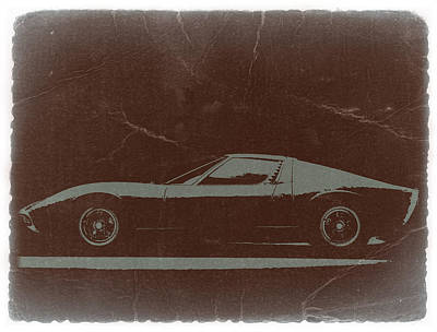 Old Car Photograph -  Lamborghini Miura by Naxart Studio