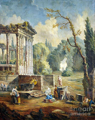 Lanscape Painting -  Lanscape With Temple Ruin by Hubert Robert