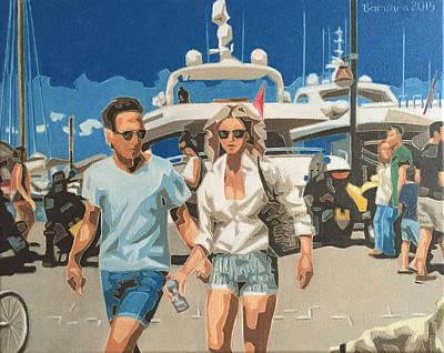 Painting -  Le Port De Plaisance De Saint-tropez by Varvara Stylidou