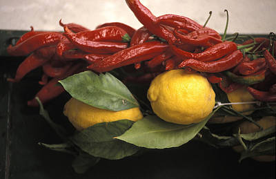 Lemons And Dried Red Peppers  For Sale Art Print by Richard Nowitz