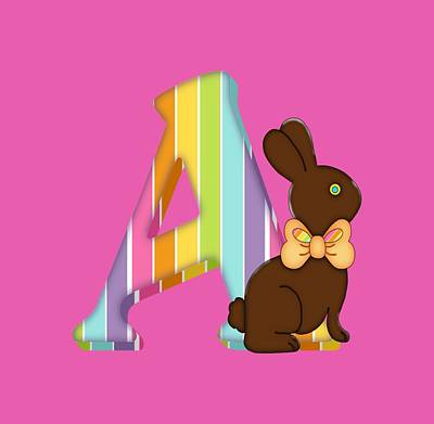Digital Art -  Letter A Chocolate Easter Bunny by Debra Miller