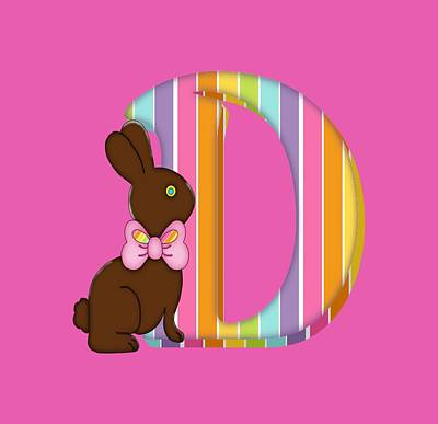 Digital Art -  Letter D Chocolate Easter Bunny by Debra Miller