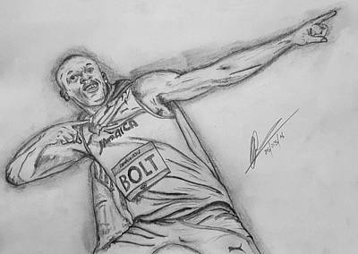 Usain Bolt Drawing -  Lightening Bolt  Pose by Collin A Clarke