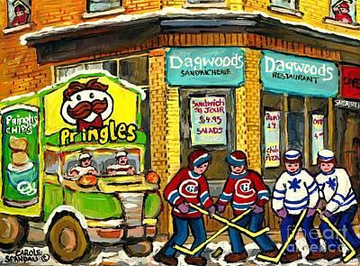 Quebec Painting -  Local Sandwich Shop Dagwood's Winter In The Montreal Hockey Art Chip Wagon Canadian Art C Spandau by Carole Spandau