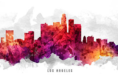 Skylines Paintings -  Los Angeles California Cityscape 14 by Aged Pixel