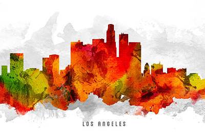 Los Angeles Skyline Digital Art -  Los Angeles California Cityscape 15 by Aged Pixel