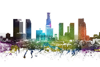 Skylines Royalty-Free and Rights-Managed Images -  Los Angeles cityscape 01 by Aged Pixel