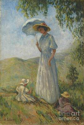 Saint Tropez Painting -  Madame Lebasque In The Sun With Marthe And Nono by Celestial Images