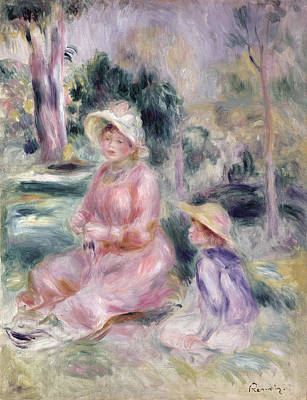 Painting -  Madame Renoir And Her Son Pierre by Pierre Auguste Renoir