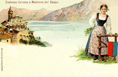 Swiss Alps Drawing -  Madonna Del Sasso And Woman In Ticinese Dress by Heidi De Leeuw
