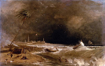William Daniell Painting - Madras Or Fort St. George In The Bay Of Bengal. A Squall Passing Off by William Daniell