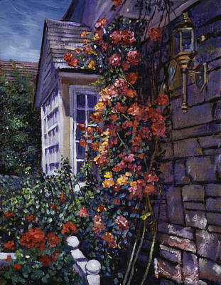 Rooftops Painting -  Magnificent Climbing Roses by David Lloyd Glover