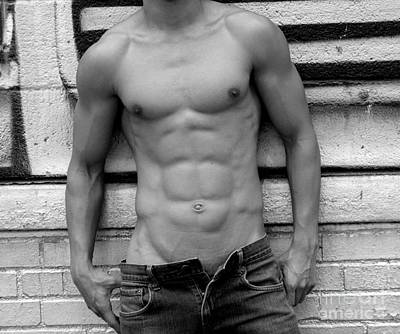 Black Photograph -  Male Abs by Mark Ashkenazi