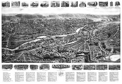 Photograph -  Map Of Ansonia Connecticut 1921 by Phil Cardamone