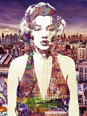 Painting -  Marilyn Monroe Vulnerable In New York City 2 by Tony Rubino