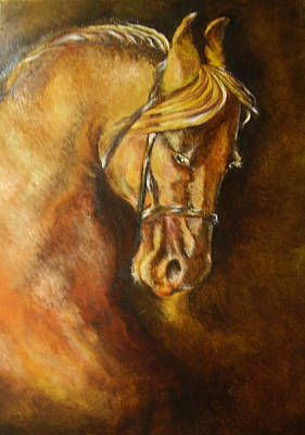 Horse Painting - A Winning Racer Brown Horse by Remy Francis