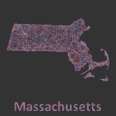 Massachusetts Drawing -  Massachusetts Map by David Zydd