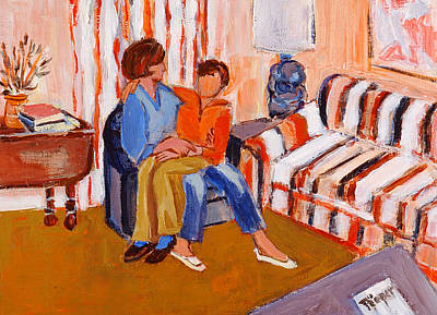 Painting -  May I Sit On Your Lap by Elzbieta Zemaitis