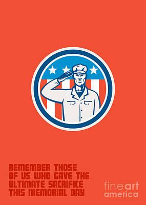 Memorial Day Greeting Card American Soldier Salute Circle Art Print by Aloysius Patrimonio