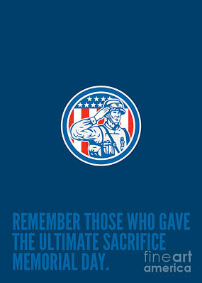 Memorial Day Greeting Card Soldier Military Salute Circle  Art Print by Aloysius Patrimonio