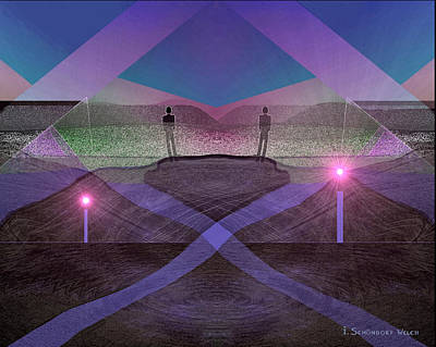 Lantern Digital Art -   Men In Landscape - 230 by Irmgard Schoendorf Welch