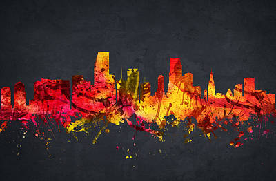 Miami Skyline Digital Art -  Miami Cityscape 07 by Aged Pixel